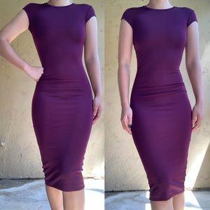 H&M Purple/ Burgundy Fitted Bodycon Midi Dress